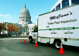 a mccanns truck on assignment near the capitol building in Madison